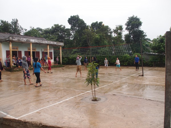 Playing Volleyball in Vietnam countryside